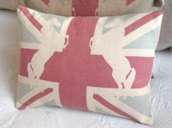 union jack cushion with horses