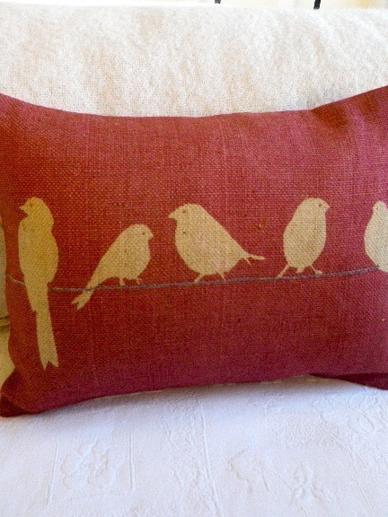 hand printed bird cushion