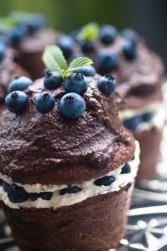 handmade chocolate blueberry cupcakes