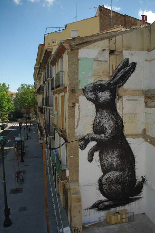 bunny rabbit decoration on a building
