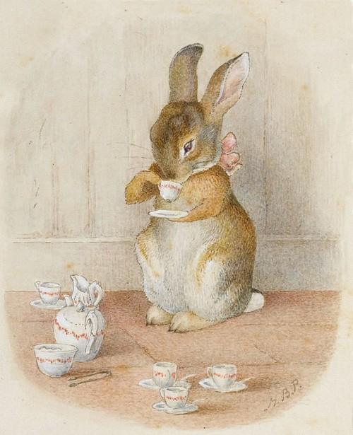 rabbit drinking tea beatrix potter