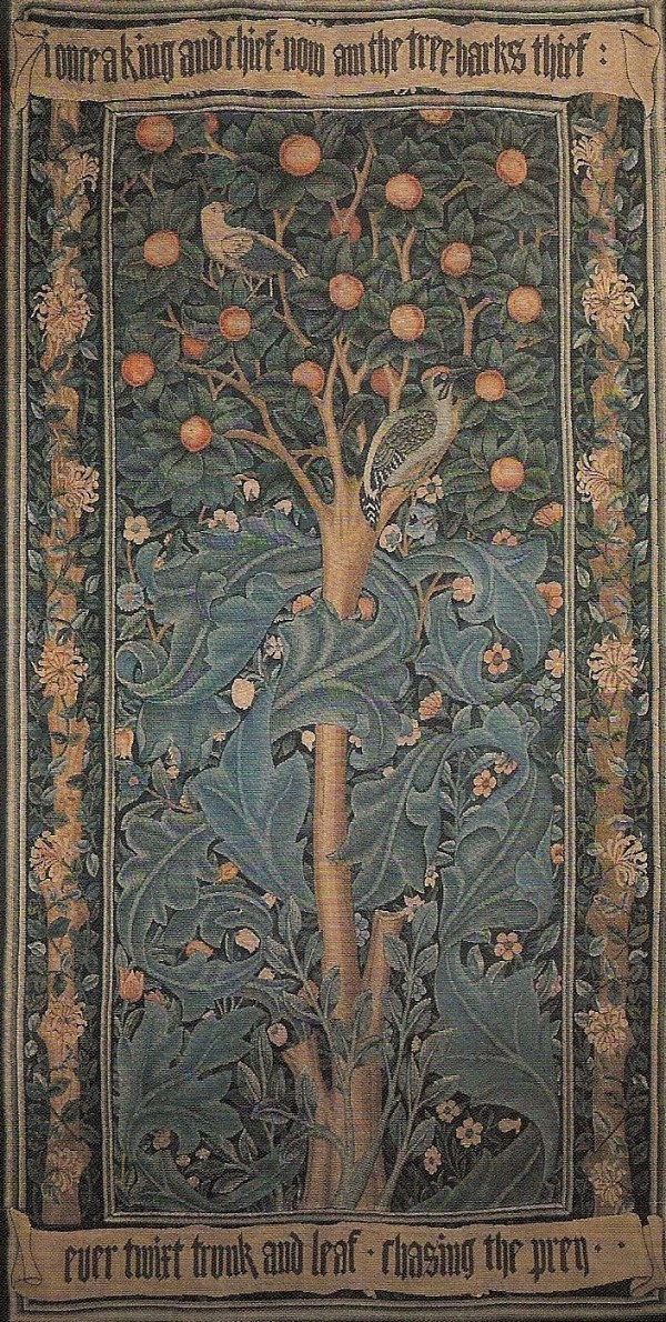 William morris tapestry woodpecker