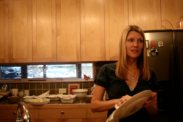 My Sister - Drying Dishes and Feigning an Expression of Sadness and Longing. Don't Be Fooled.