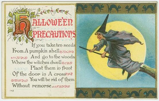 vintage halloween postcard witch