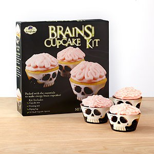 halloween skeleton brain cupcakes