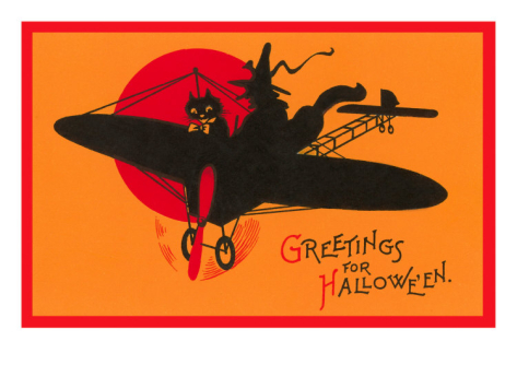 vintage halloween cat and witch airplane