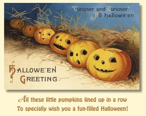 vintage halloween postcard pumpkins
