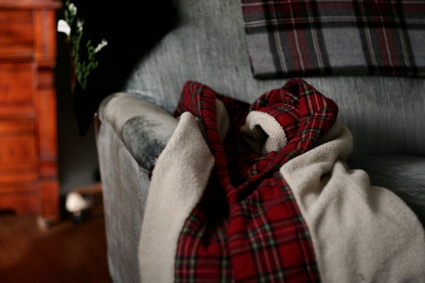 plaid ll bean robe