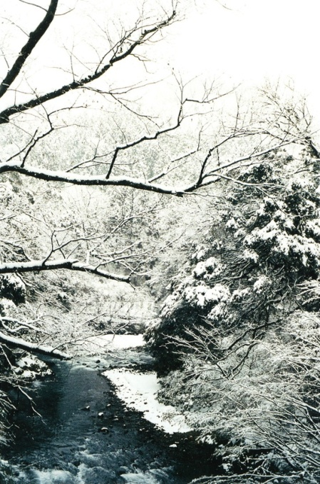 snowy river in Japan