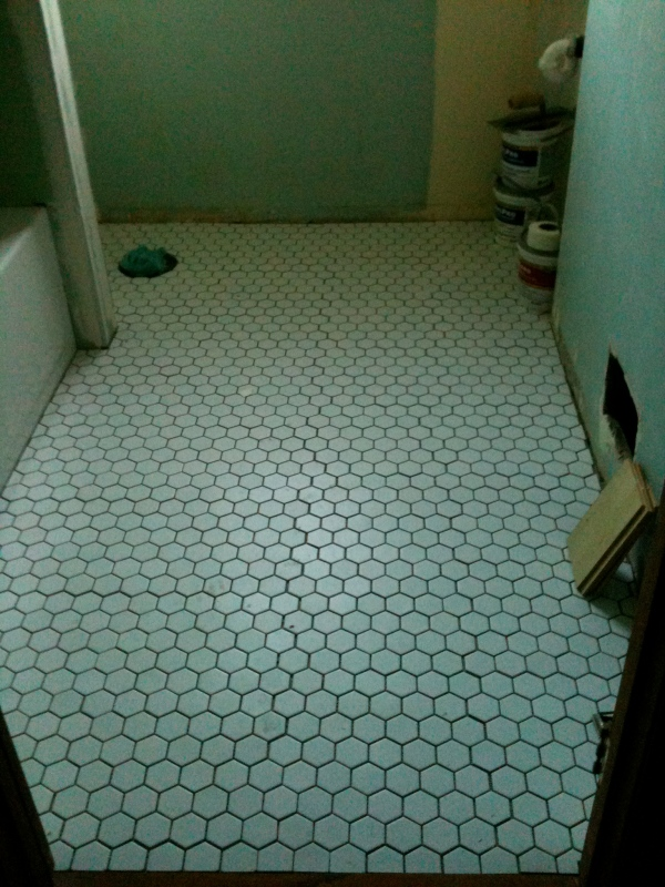 white hex floor